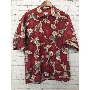 Pierre Cardin Red Hawaiian Button Down Shirt